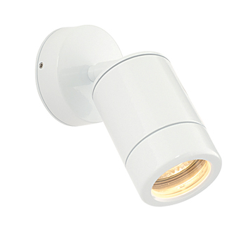 Endon 'Odyssey' IP44 Outdoor Spot Wall Light, Gloss White Paint & Clear Glass - ST5010W