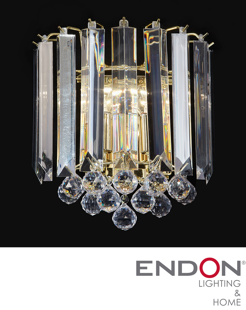 Endon Acrylic Wall Light, Brass - T-599-WB from Easy Lighting