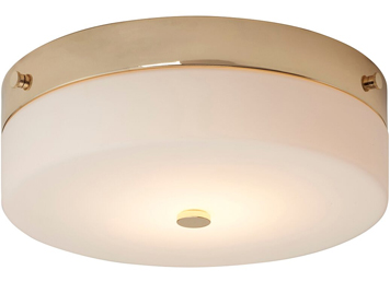 Elstead Tamar 1 Light Large Bathroom Flush Ceiling Light, Polished Gold Finish - TAMAR/F/L PG