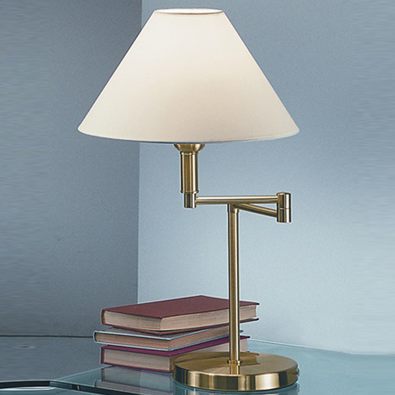 Franklite Swing Arm Table Lamp Brass Finish With Cream Shade