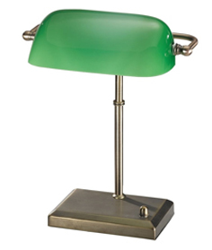 Franklite Bankers Lamp, Bronze Finish With Green Adjustable Shade - TL877