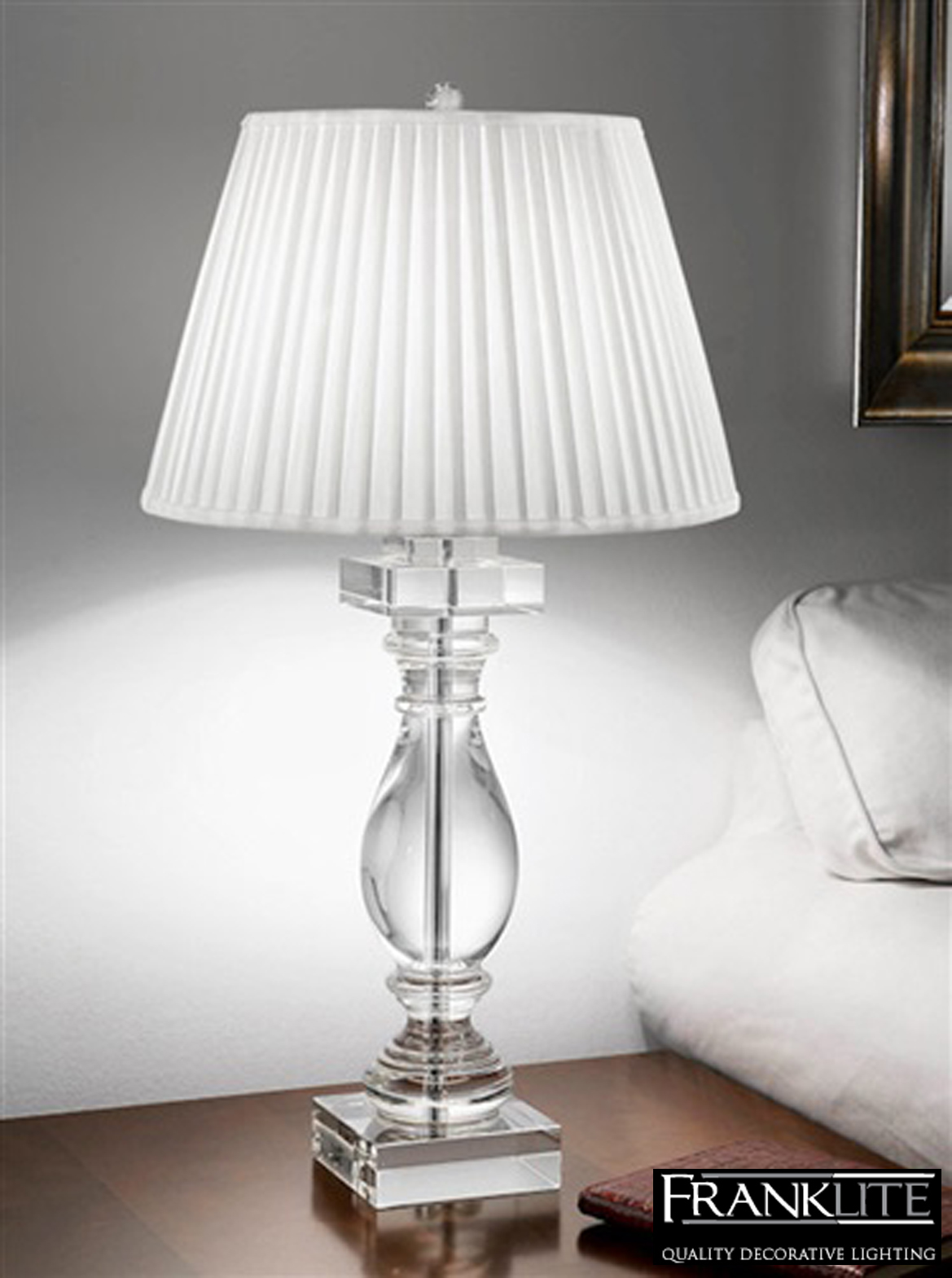 pleated shade crystal glass table lamp tl880 from easy lighting. Black Bedroom Furniture Sets. Home Design Ideas