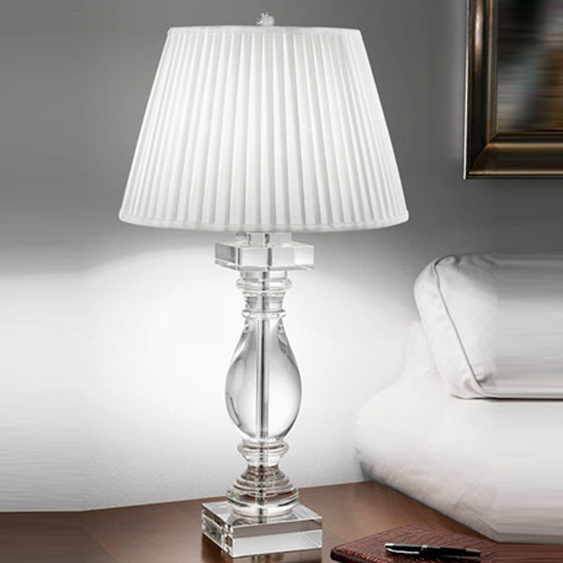 Franklite the hugo collection knife pleated shade crystal glass table lamp tl880