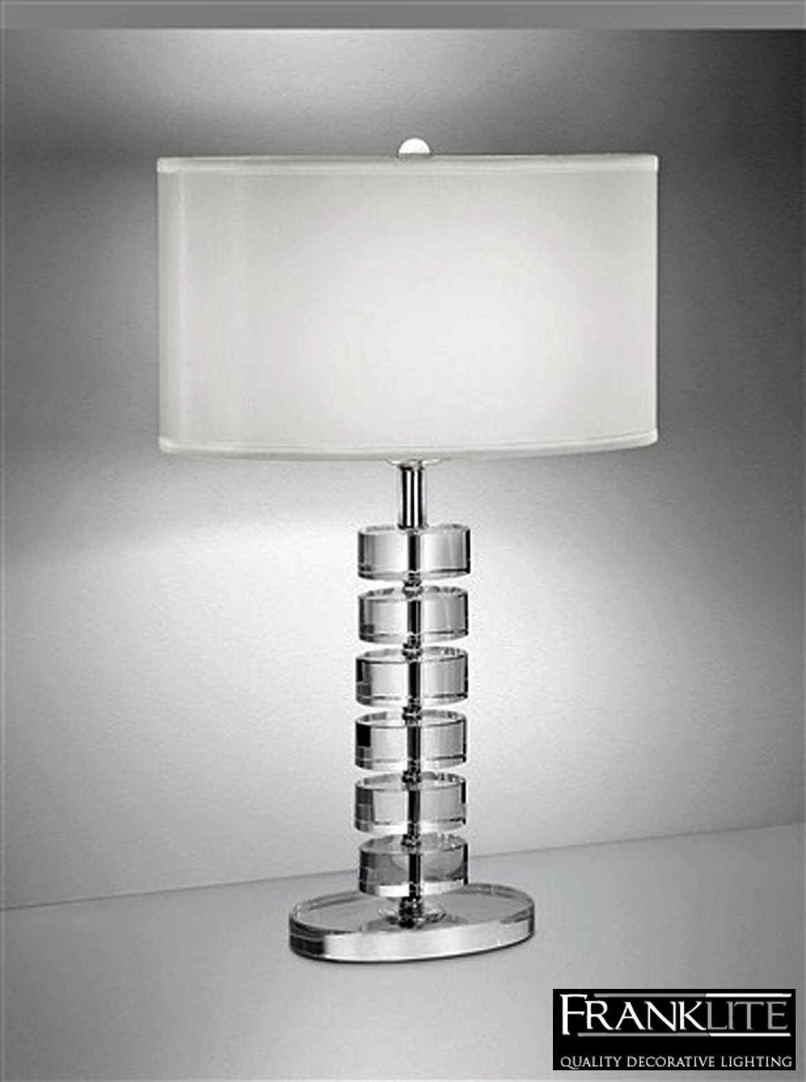 Franklite The Hugo Collection Oval Trimmed Shade Crystal Glass Table Lamp