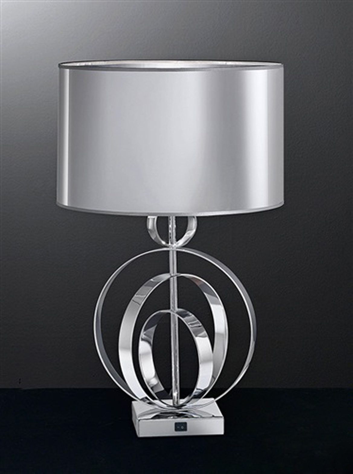 Franklite Zany Modern Concentric Style Chrome With Silver Shade Table Lamp