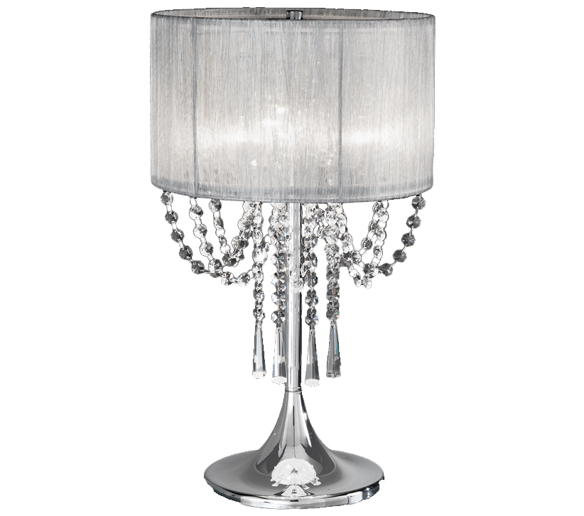 Franklite Empress 3 Light Table Lamp Chrome With Crystal Glass
