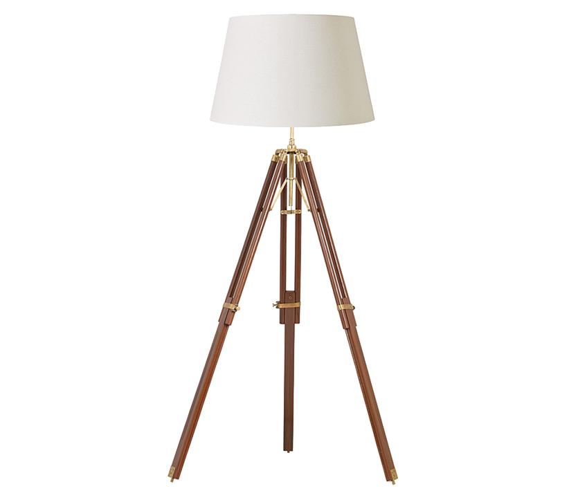 Endon tripod floor lamp sheesham wood brass finish for Brass tripod floor lamp uk