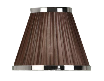 Interiors 1900 Tapered Cylinder Table Lamp Shade, Chocolate Organza Fabric & Polished Nickel Trim - UL1TNSHC
