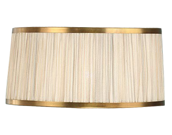 Interiors 1900 Tapered Cylinder Bedside Lamp Shade, Beige Faux Silk & Antique Brass Trim - UL2TBSH