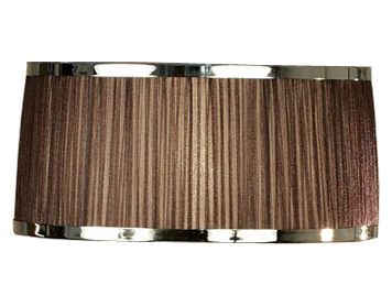 Interiors 1900 Tapered Cylinder Bedside Lamp Shade, Chocolate Organza Fabric & Polished Nickel Trim - UL2TNSHC