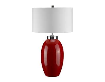 Elstead Victor 1 Light Small Table Lamp, Red Finish With Cream Shade - VICTOR SM/TL RD