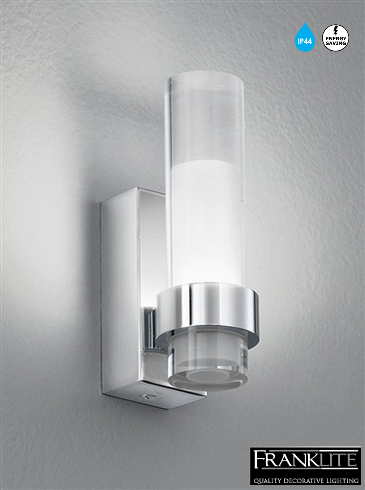 Franklite Low Energy Led Glass Chrome Ip44 Bathroom Single Wall Light Wb050 From Easy Lighting