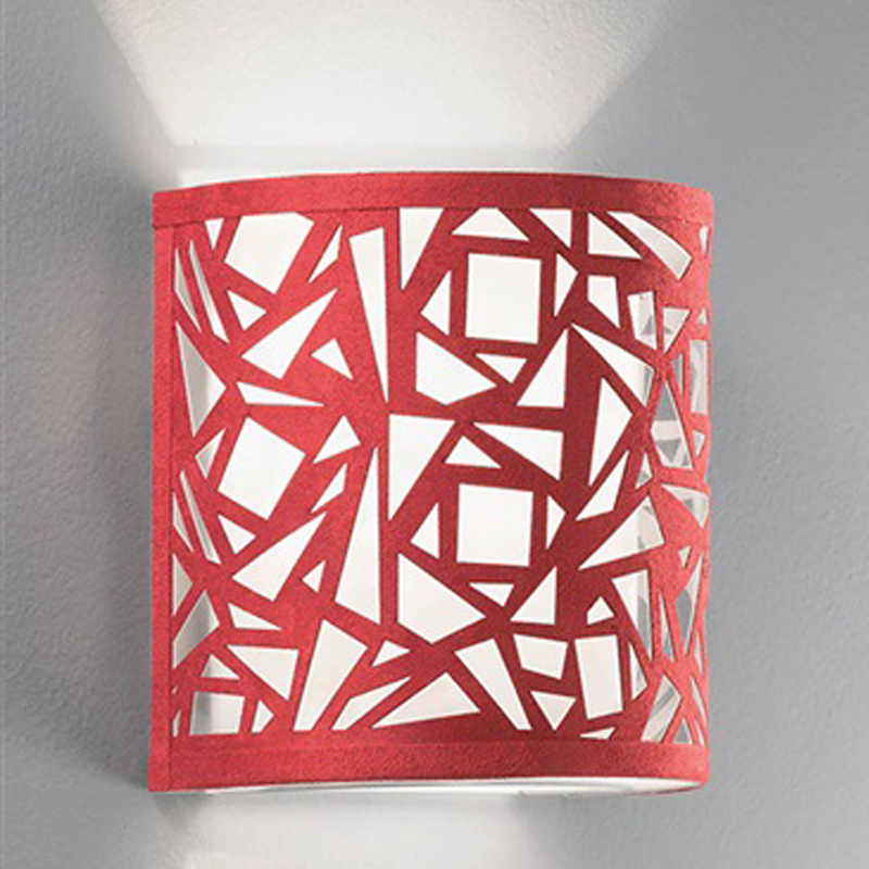 FRANKLITE ABSTRACT RED & WHITE FABRIC, 200MM HIGH UPLIGHTER WALL FITTING - WB052