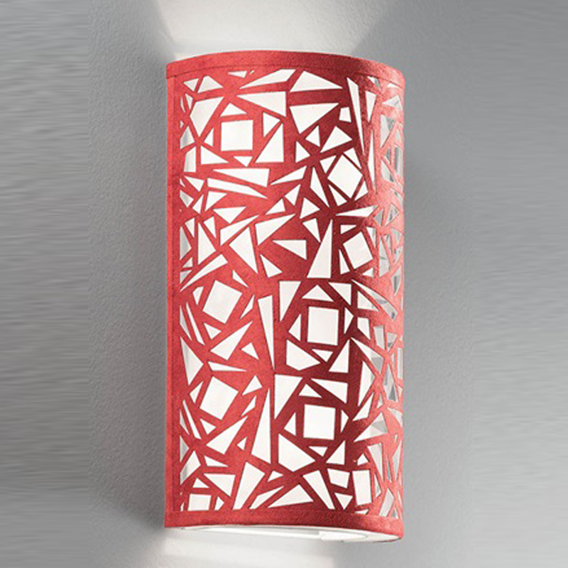 FRANKLITE ABSTRACT RED & WHITE FABRIC, 400MM HIGH UPLIGHTER WALL FITTING - WB053