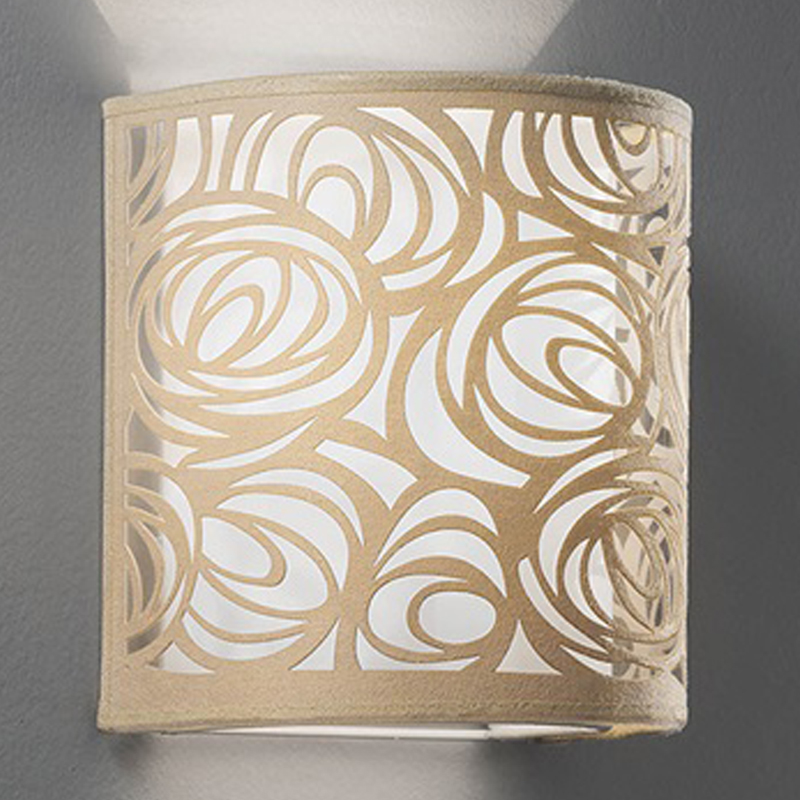 Franklite Abstract Cream & White Fabric, 200mm High Uplighter Wall Fitting - WB056