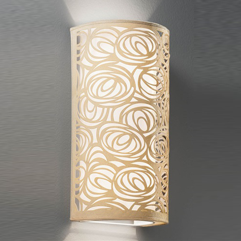 Franklite Abstract Cream & White Fabric, 400mm High Uplighter Wall Fitting - WB057