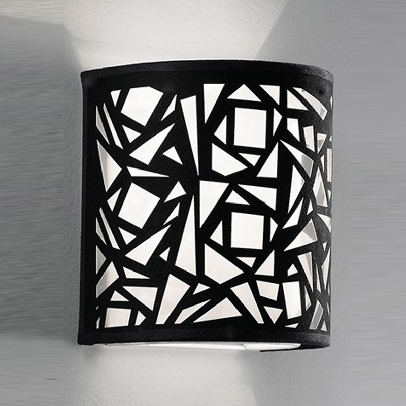 FRANKLITE ABSTRACT BLACK & WHITE FABRIC, 200MM HIGH UPLIGHTER WALL FITTING - WB058