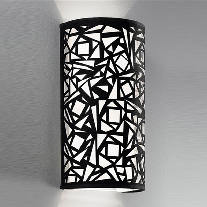 Franklite Abstract Black & White Fabric, 400mm High Uplighter Wall Fitting - WB059