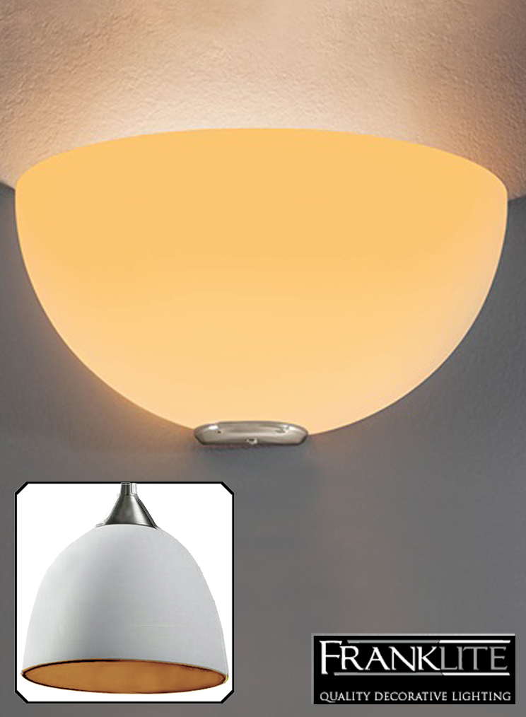 Franklite Vetross Matt White/Orange Glass & Satin Nickel, Uplighter Fitting - WB060/939 None