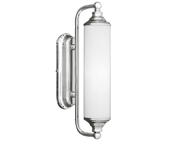 Franklite Bathroom Single Mirror/Wall Light, Chrome Finish With Satin Opal Glass  - WB157/363