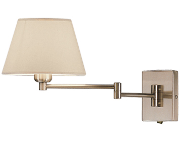 Franklite Swing Arm Wall Light, Satin Nickel Finish With Cream Shade - WB503/9004