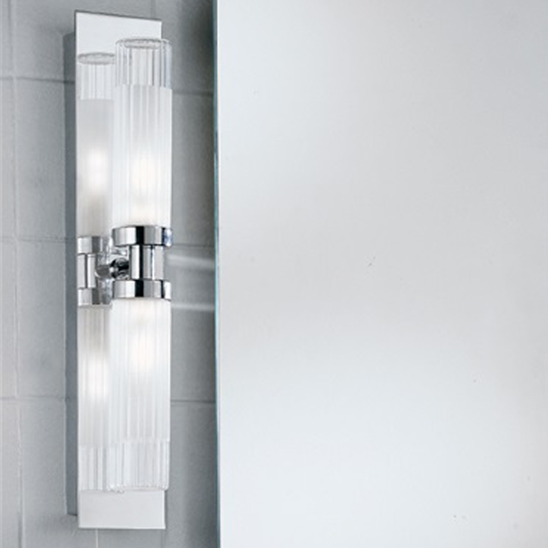 Franklite Glass & Chrome Over Mirror IP44 Fixed Arm Twin Bathroom Light - WB535 from Easy Lighting