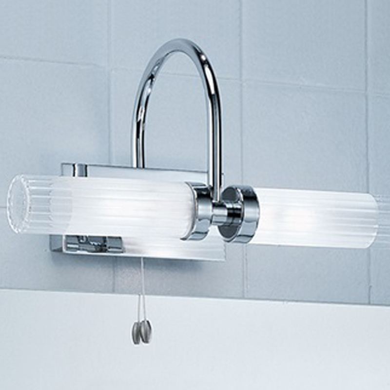 Franklite Glass Chrome Over Mirror IP44 Fixed Arm Twin Bathroom Light