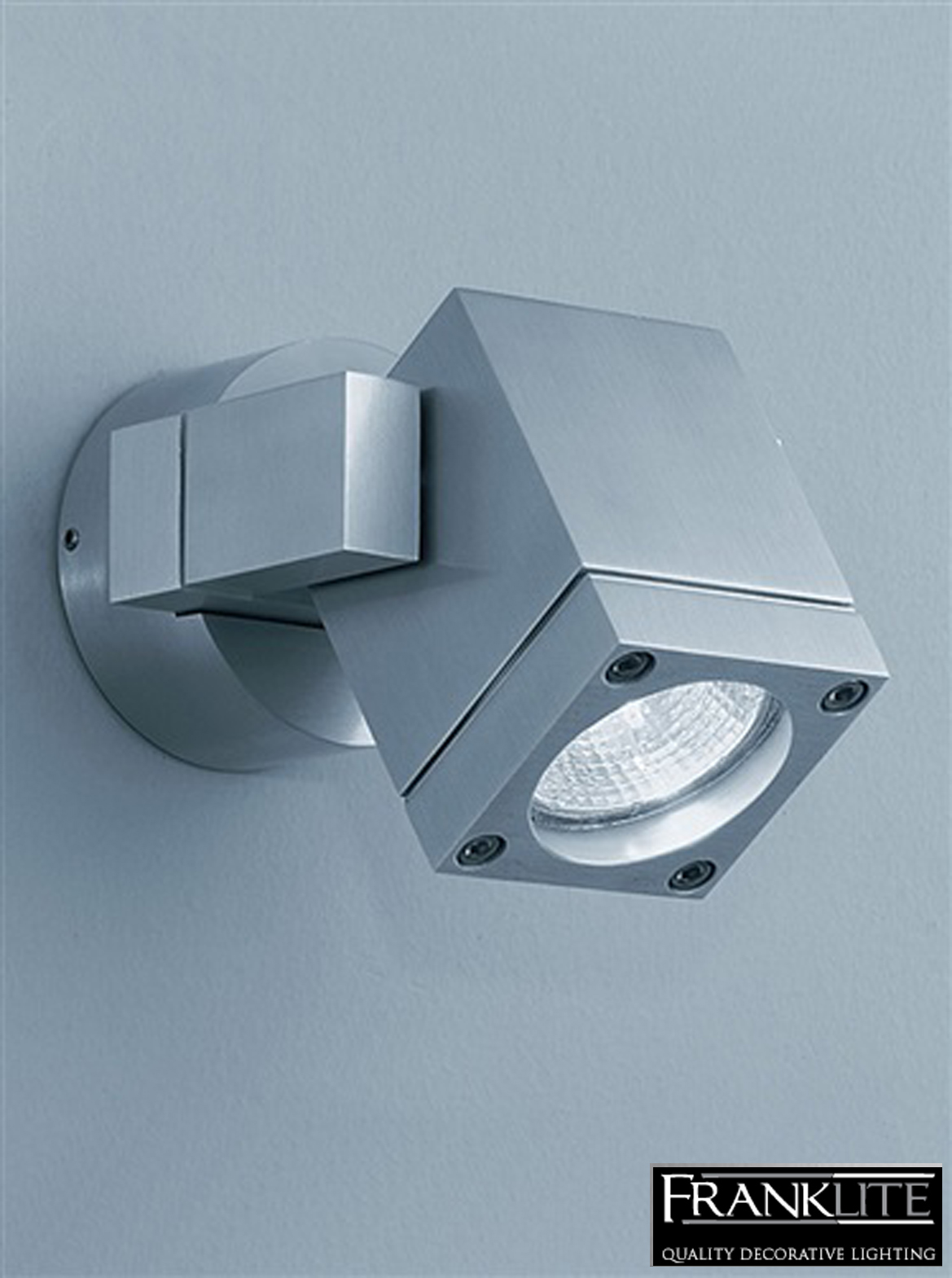 Franklite nocturn exterior brushed aluminium spotlight ip54 wall fitting wb573
