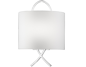 Franklite Wall Light With Off-White Fabric Half Shade, Chrome Finish - WB986
