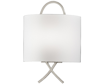 Franklite Wall Light With Off-White Fabric Half Shade, Satin Nickel Finish - WB987