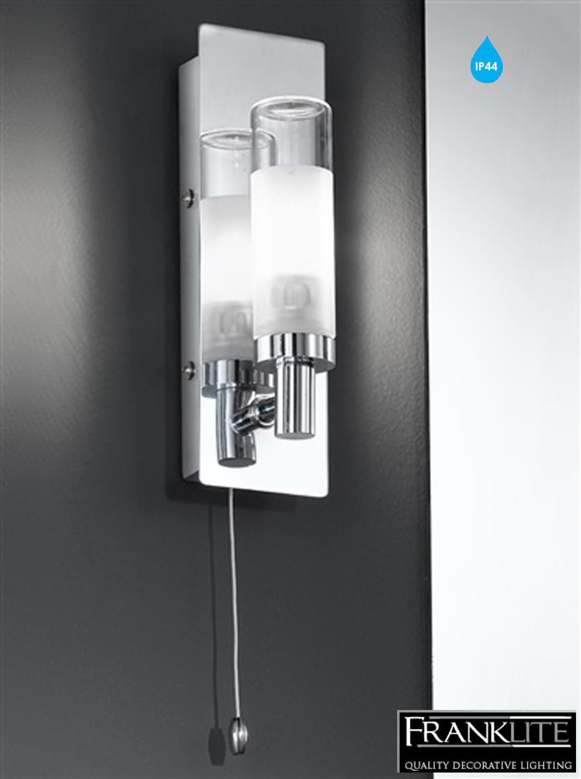 Bathroom Wall Lamp: Franklite Bathroom Single Wall Light, Glass & Chrome