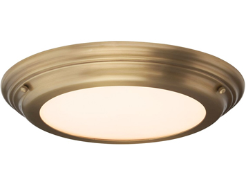 Elstead Welland 1 Light Medium Bathroom Flush Ceiling Light, Aged Brass Finish - WELLAND/F AB