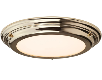 Elstead Welland 1 Light Medium Bathroom Flush Ceiling Light, Polished Brass Finish - WELLAND/F PB