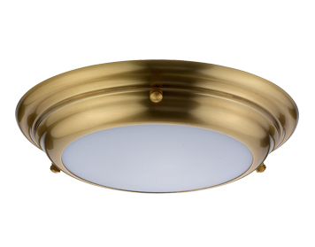 Elstead Welland Mini 1 Light LED Flush Light, Aged Brass Finish - WELLAND/F/S AB