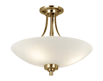 Endon Welles Semi-Flush Ceiling Light, Antique Brass Finish - WELLES-3AB