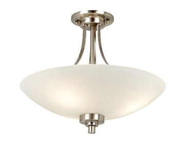 Endon Welles Semi-Flush Ceiling Light, Satin Chrome Finish - WELLES-3SC