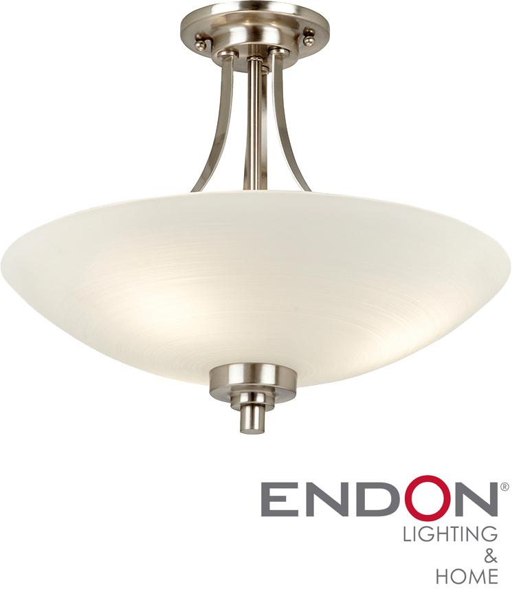 Endon 39 Welles 39 Satin Chrome Semi Flush Ceiling Light WELLES 3SC Fro