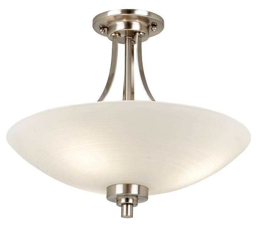 Endon Welles 3 Light Semi Flush Ceiling Light Satin Chrome Plate Finish With White Glass Shade Welles 3sc From Easy Lighting