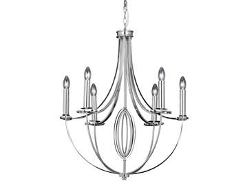 Endon Whistle 6 Arm Ceiling Chandelier, Nickel Finish - WHISTLE-6NI