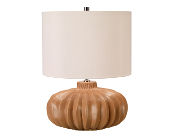 Elstead Woodside 1 Light Table Lamp, Vintage Caramel Ceramic Finish With Ivory Shade - WOODSIDE/TL