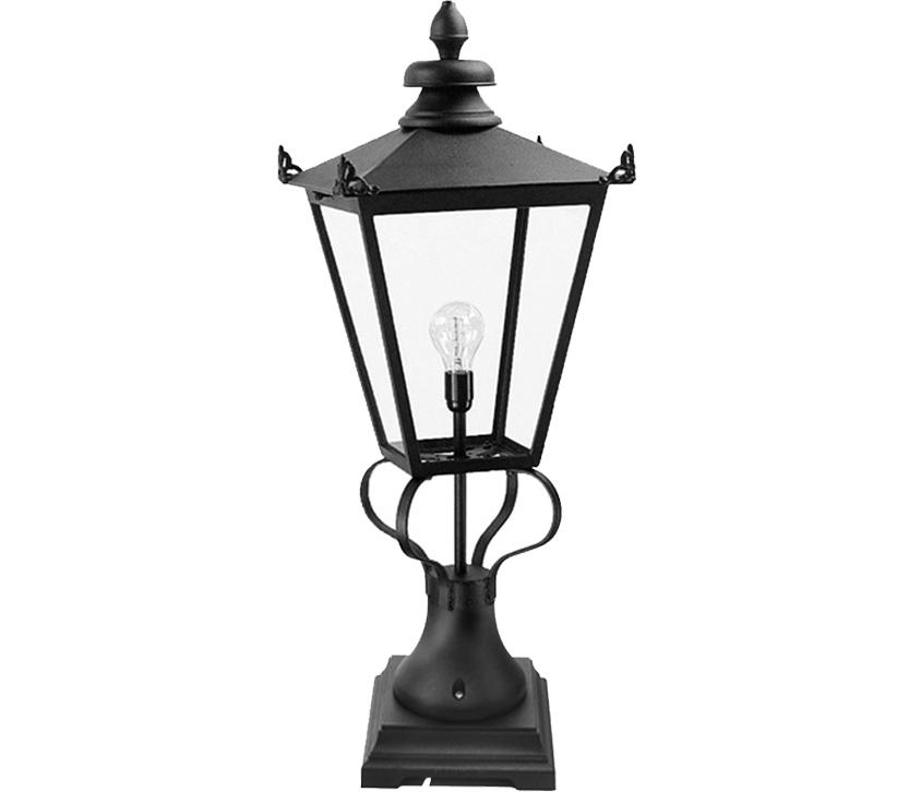 Elstead York Pedestal Lantern Light Black: Elstead Wilmslow Victorian Pedestal Lantern, Black