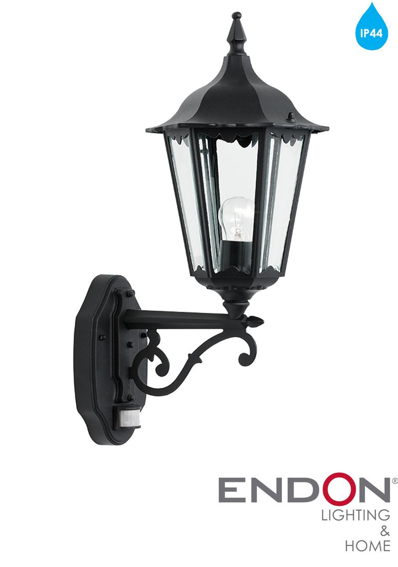 Endon Tiffany Wall Lights : Endon Burford Black Traditional IP44 Outside PIR Wall Light - YG-3004 from Easy Lighting