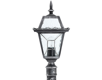 Endon Riverdale Bollard, Black Brushed Silver & Clear Leaded Glass Finish - YG-4502