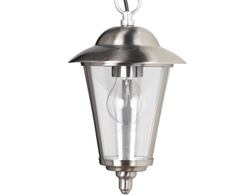Endon Klien 1 Light Pendant, Polished Stainless Steel & Clear Glass Finish - YG-865-SS