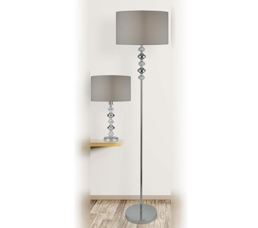 Searchlight Larissa 1 Light Floor Lamp, Chrome & Acrylic ...