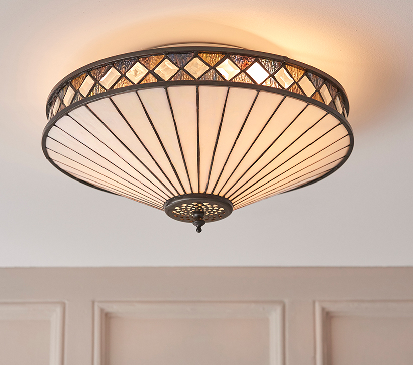 Interiors 1900 Fargo Medium 2 Light Tiffany Flush Ceiling Light 64145 From Easy Lighting
