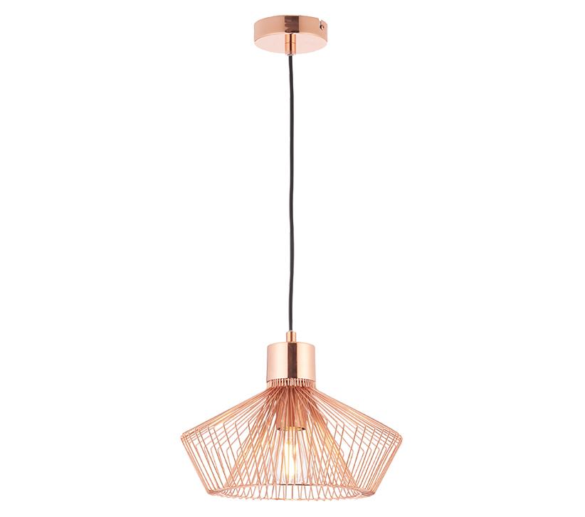 Endon Kimberley 1 Light Ceiling Pendant Copper Plate Finish 72813 From Easy Lighting