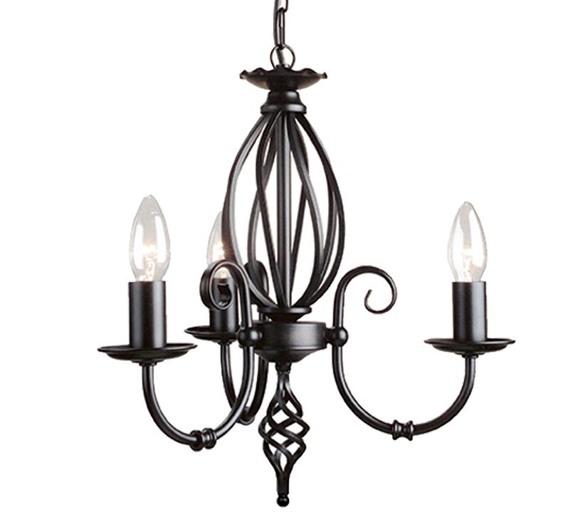 Elstead Artisan 3 Light Ceiling Light, Black Ironwork ...