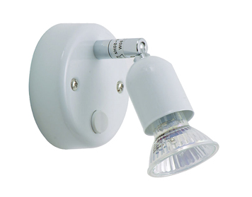 Oaks Lighting Bas Switched Single Spotlight, White Finish - 4001 SW WH