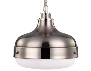 Elstead Feiss Cadence Pendant, Polished Nicke/Brushed Steel - FE/CADENCE/2P BS